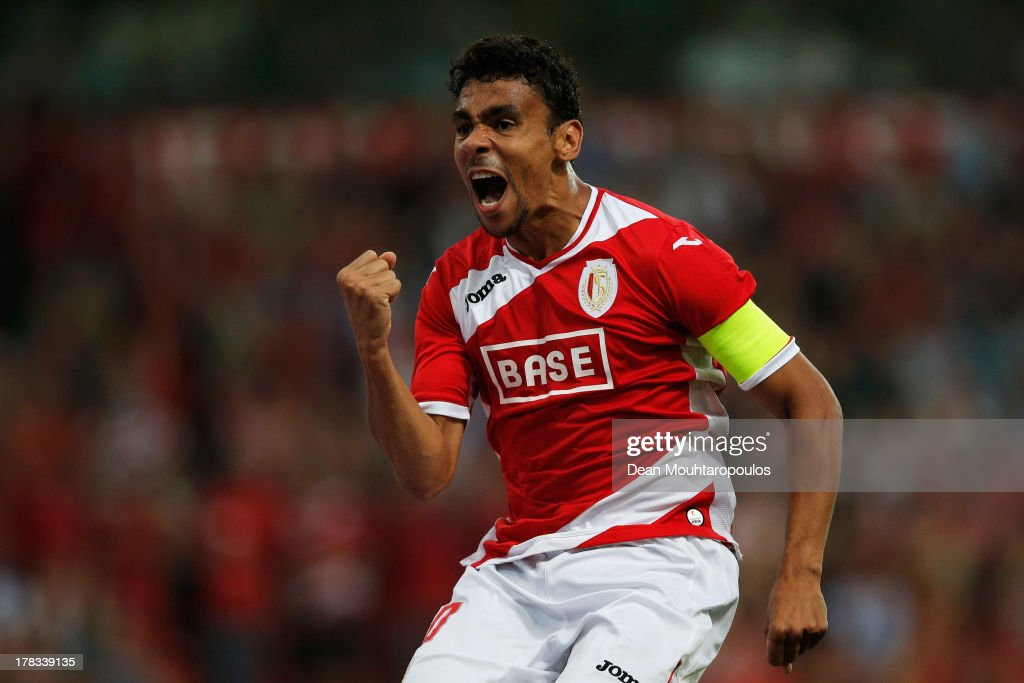 Igor De Camargo of Standard Liege celebrates scoring the second goal of the game during the Second Leg Play Off UEFA Europa League match between Royal Standard de Liege and FC Minsk at the Maurice Dufrasne Stadium on August 29, 2013 in Liege, Belgium.