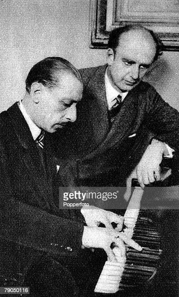 Igor Fyodorovich Stravinsky The US composer is pictured at the piano with Wilhelm Furtwangler the German conductor