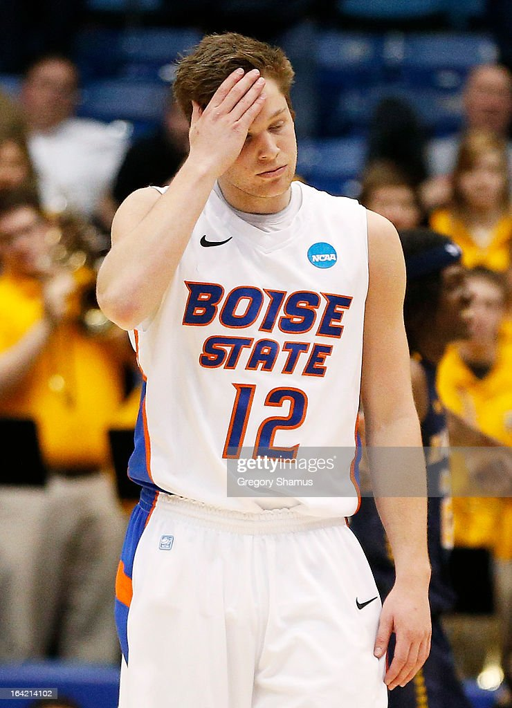 Igor Hadziomerovic #12 of the Boise State Broncos reacts to their 80 to 71 loss to the La Salle Explorers during the first round of the 2013 NCAA Men's Basketball Tournament at University of Dayton Arena on March 20, 2013 in Dayton, Ohio.