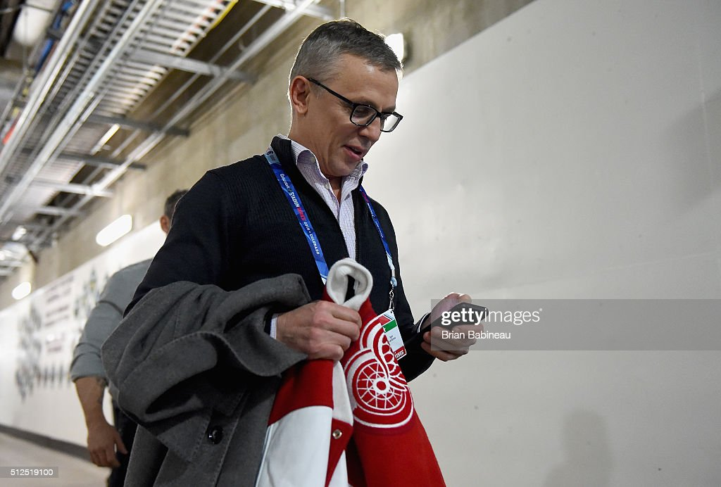 <a gi-track='captionPersonalityLinkClicked' href=/galleries/search?phrase=Igor+Larionov&family=editorial&specificpeople=201768 ng-click='$event.stopPropagation()'>Igor Larionov</a> #8 of the Detroit Red Wings Alumni makes his way to the locker room prior to the 2016 Coors Light Stadium Series Alumni Game between the Detroit Red Wings Alumni and the Colorado Avalanche Alumni at Coors Field on February 26, 2016 in Denver, Colorado.