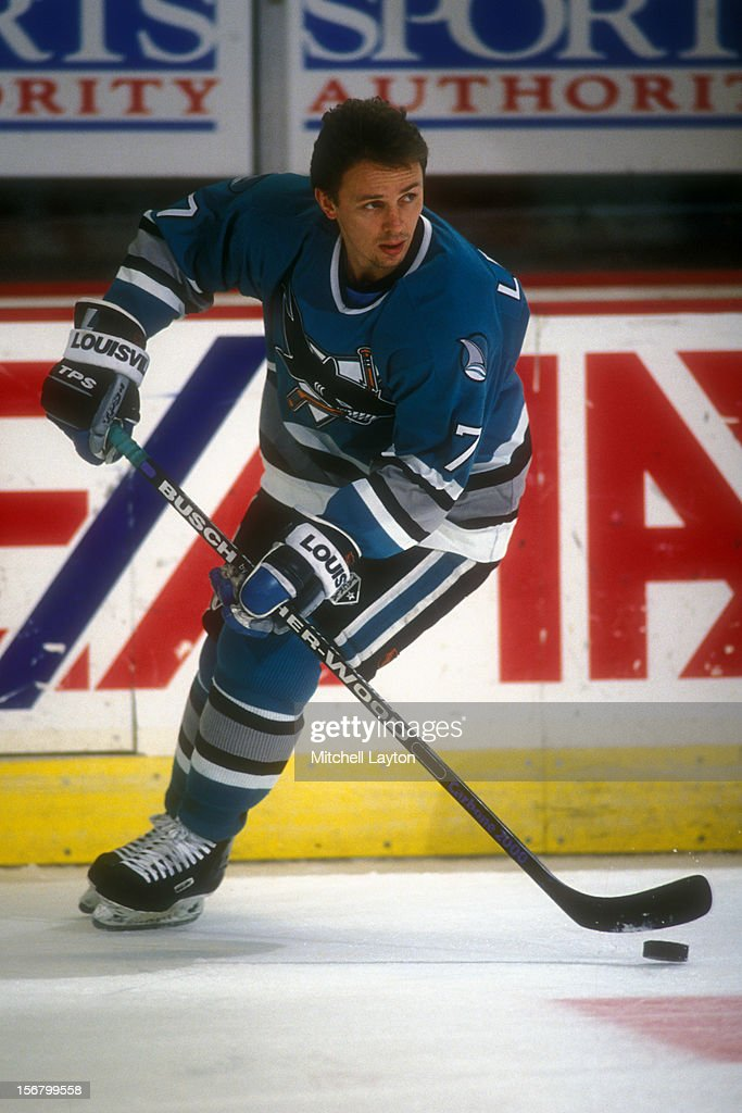 <a gi-track='captionPersonalityLinkClicked' href=/galleries/search?phrase=Igor+Larionov&family=editorial&specificpeople=201768 ng-click='$event.stopPropagation()'>Igor Larionov</a> #7 of the San Jose Sharks skates with the puck before a hockey game against the Washington Capitals on November 16, 1993 at the USAir Arena in Landover, Maryland. The Capitals won 14-8.
