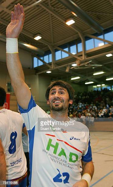 Igor Lavrov of Hamburg celebrates after the Handball European Cup Winners Cup game between HSV Handball and HC portovik Yuzhny at the Hanse Hall on...