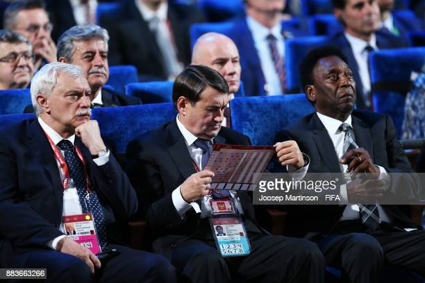 Igor Levitin Russian Political and Pele during the Final Draw for the 2018 FIFA World Cup Russia at the State Kremlin Palace on December 1 2017 in...