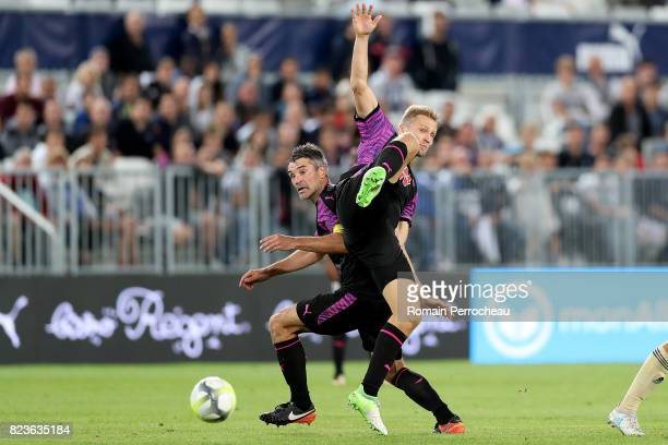 Igor Lewczuk and Jeremy Toulalan of Bordeaux in action during the UEFA Europa League qualifying match between Bordeaux and Videoton at Stade Matmut...