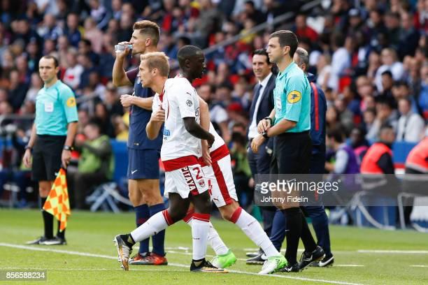Igor Lewczuk and Youssouf Sabaly of Bordeaux during the Ligue 1 match between Paris Saint Germain and FC Girondins de Bordeaux at Parc des Princes on...