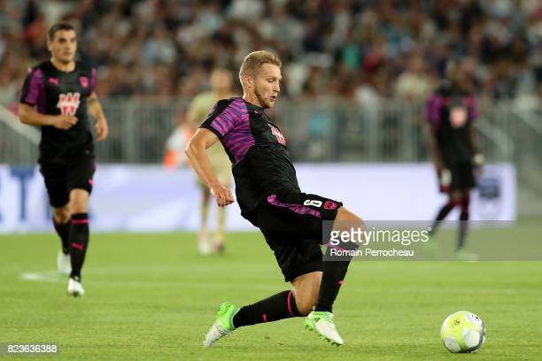 Igor Lewczuk of Bordeaux in action during the UEFA Europa League qualifying match between Bordeaux and Videoton at Stade Matmut Atlantique on July 27...