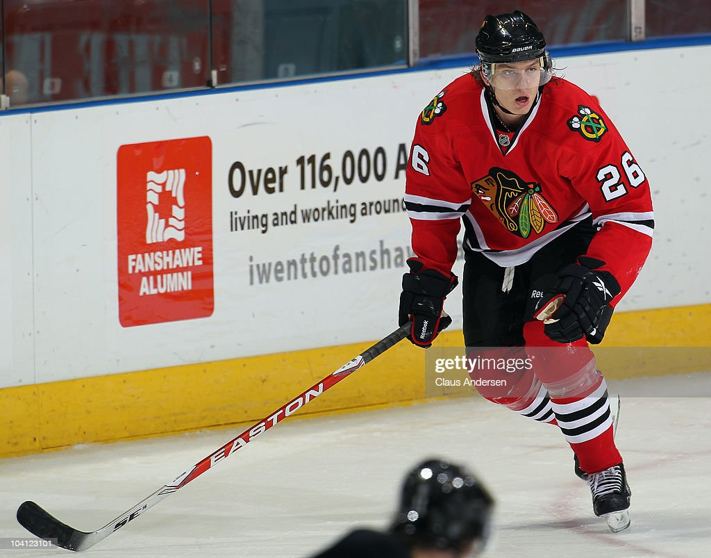 Igor Makarov #26 of the Chicago Black Hawks skates in a game against the Pittsburgh Penguins during the NHL Rookie Tournament on September 14,2010 at the John Labatt Centre in London,Ontario. The Hawks defeated the Penguins 9-5.