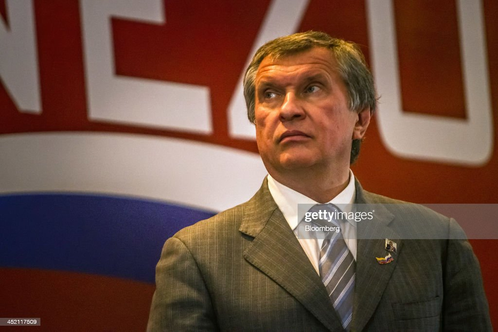 <a gi-track='captionPersonalityLinkClicked' href=/galleries/search?phrase=Igor+Sechin&family=editorial&specificpeople=756791 ng-click='$event.stopPropagation()'>Igor Sechin</a>, chief executive officer of OAO Rosneft, listens during the first Russia-Venezuela Oil Congress on Margarita Island in Nueva Esparta, Venezuela, on Thursday, Nov. 21, 2013. OAO Rosneft, Russia's largest oil producer, plans to invest $13 billion in five projects in Venezuela over five years and buy at least part of OAO Lukoil's stake in a producing field in the South American nation. Photographer: Meridith Kohut/Bloomberg via Getty Images