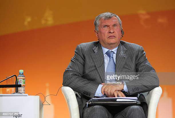 Igor Sechin chief executive officer of OAO Rosneft pauses during a plenary session of the 21st World Petroleum Congress in Moscow Russia on Monday...