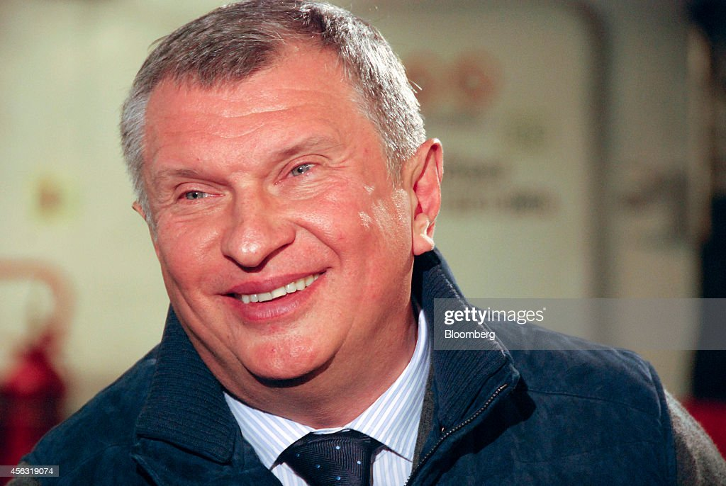 <a gi-track='captionPersonalityLinkClicked' href=/galleries/search?phrase=Igor+Sechin&family=editorial&specificpeople=756791 ng-click='$event.stopPropagation()'>Igor Sechin</a>, chief executive officer of OAO Rosneft, reacts during a Bloomberg Television interview aboard the polar research vessel Akademik Tryoshnikov in the Kara Sea, Russia, on Friday, Sept. 26, 2014. Sechin, a long-time ally of President Vladimir Putin, spent two days traveling by plane, ship and helicopter last week to announce a billion-barrel crude strike in the iceberg-prone Kara Sea region of Russias Arctic Ocean. Photographer: Ilya Arkhipov/Bloomberg via Getty Images