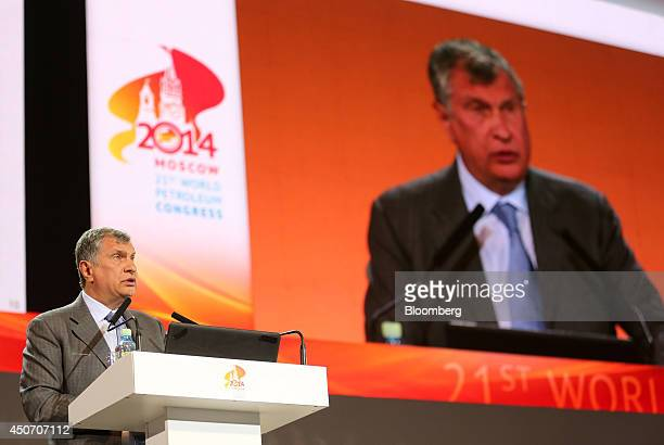 Igor Sechin chief executive officer of OAO Rosneft speaks during a plenary session of the 21st World Petroleum Congress in Moscow Russia on Monday...