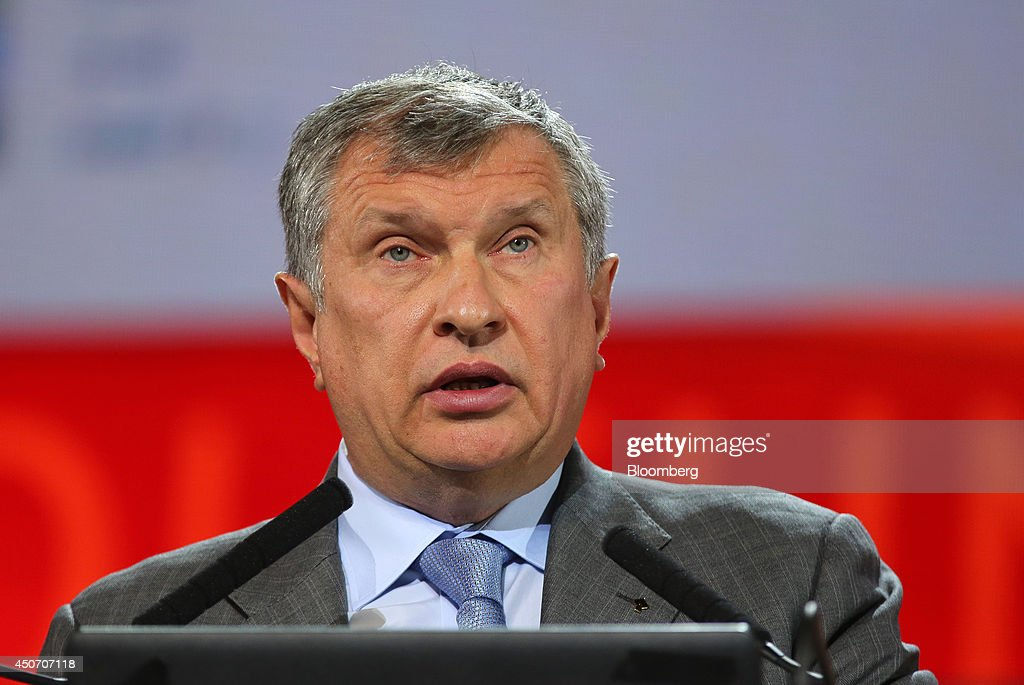 Igor Sechin, chief executive officer of OAO Rosneft, speaks during a plenary session of the 21st World Petroleum Congress in Moscow, Russia, on Monday, June 16, 2014. Work between Texas-based Exxon, the world's largest oil company by market value, and state-run Rosneft on Sakhalin Island in Russia's Far East provides a template for further exploration, especially in the Arctic's Kara Sea, Exxon Mobil Corp. Chief Executive Officer Rex Tillerson said at the World Petroleum Congress in Moscow today. Photographer: Andrey Rudakov/Bloomberg via Getty Images