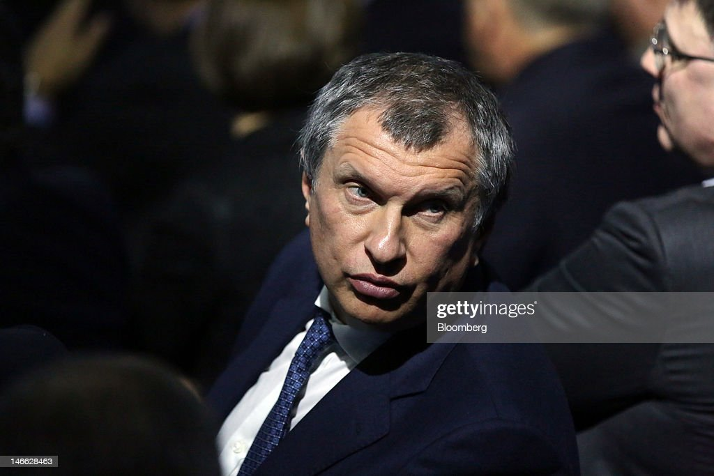 <a gi-track='captionPersonalityLinkClicked' href=/galleries/search?phrase=Igor+Sechin&family=editorial&specificpeople=756791 ng-click='$event.stopPropagation()'>Igor Sechin</a>, president of OAO Rosneft, center, sits and waits for the Russian president's keynote speech on day one of the Saint Petersburg International Economic Forum 2012 (SPIEF) in Saint Petersburg, Russia, on Thursday, June 21, 2012. Russia's showcase investment conference, a three-day event, features foreign executives from global companies, including Citigroup Inc., Goldman Sachs Group Inc., and Siemens AG. Photographer: Andrey Rudakov/Bloomberg via Getty Images