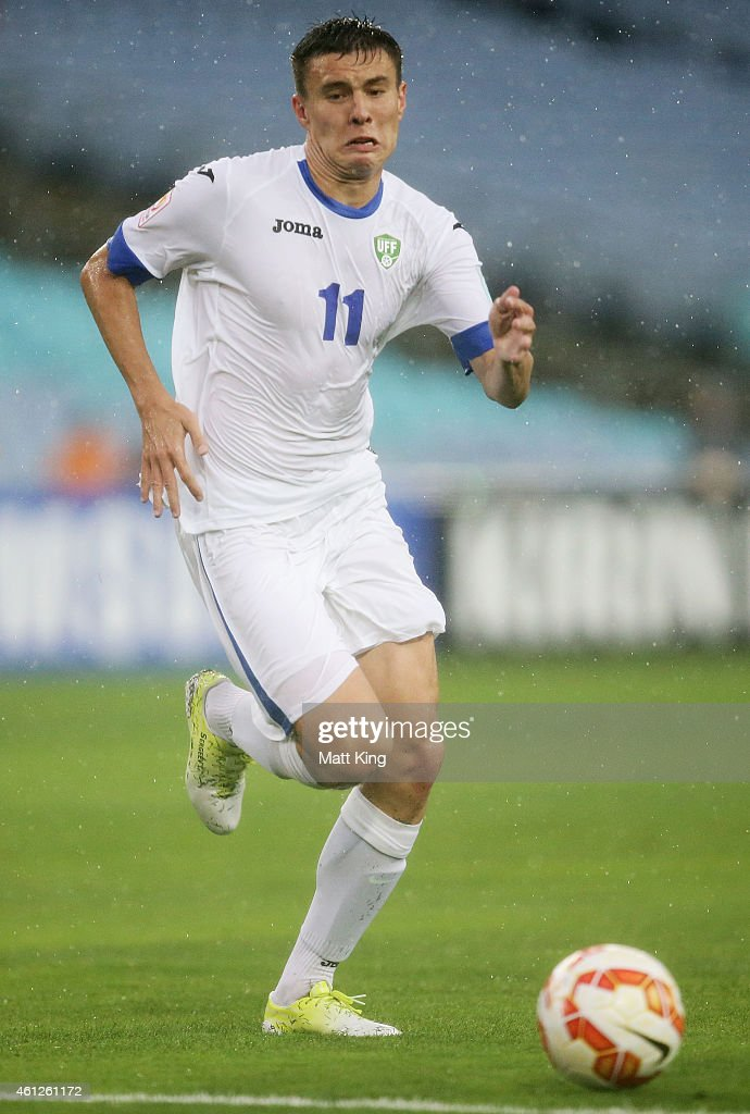 Igor Sergeev of Uzbekistan controls the ball during the 2015 Asian Cup match between Uzbekistan and DPR Korea at ANZ Stadium on January 10 2015 in...