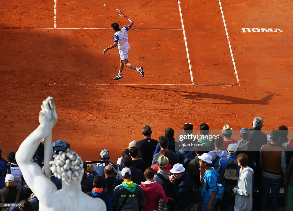 Igor Sijsling of Holland plays a backhand in is match against Marco Cecchinato of Italy during day three of the Internazionali BNL d'Italia tennis 2014 on May 13, 2014 in Rome, Italy.
