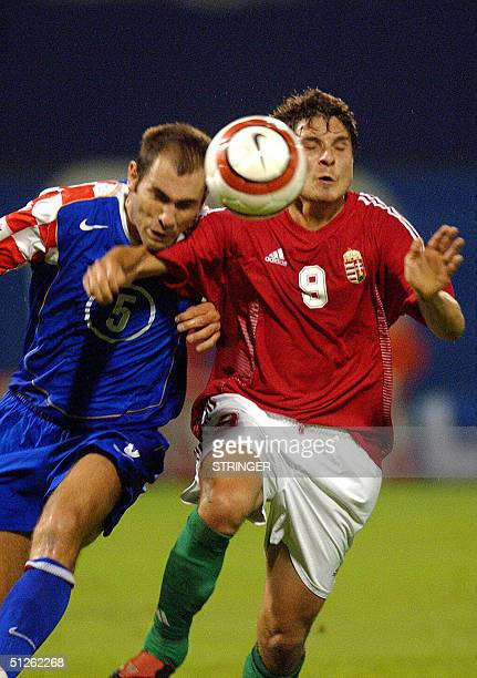 Igor Tudor of Croatia and Imre Szabics of Hungary are fighting for the ball during a qualification match for football World Cup 2006 in Zagreb 04...