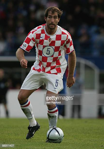 Igor Tudor of Croatia in action during the 2006 World Cup qualifying match between Iceland and Croatia at Laugardalsvollur Stadium on September 3 in...