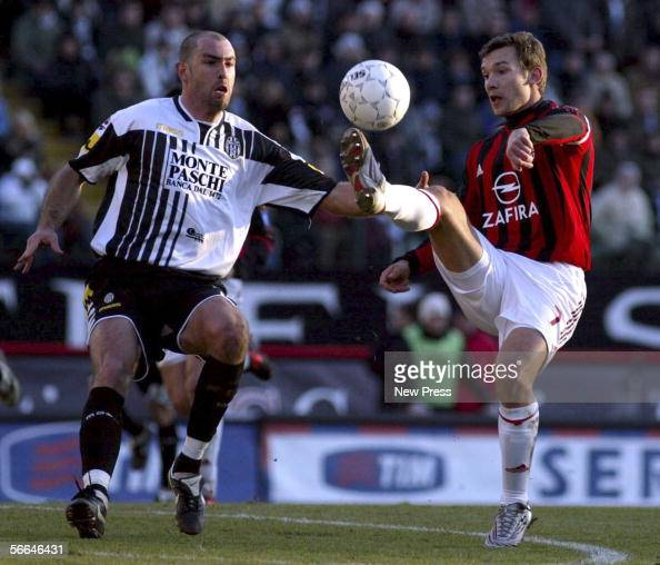 Igor Tudor of Siena battles with Andriy Shevchenko of Milan during the Serie A match between Siena and AC Milan at the Stadio Artemio Franchi on...