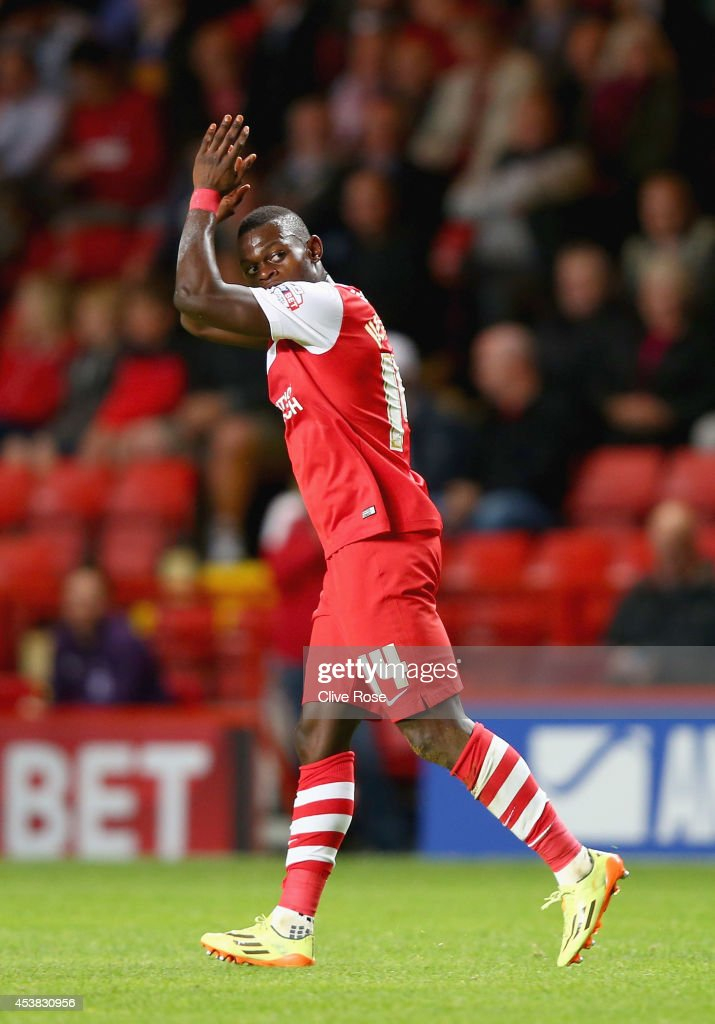 Igor Vetokele of Charlton celebrates his goal during the Sky Bet Championship match between Charlton Athletic and Derby County at The Valley on August 19, 2014 in London, England.