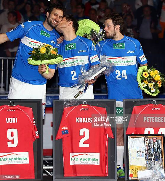 Igor Vori Michael Kraus and Frederik Petersen say good bye to the fans on June 5 2013 in Hamburg Germany