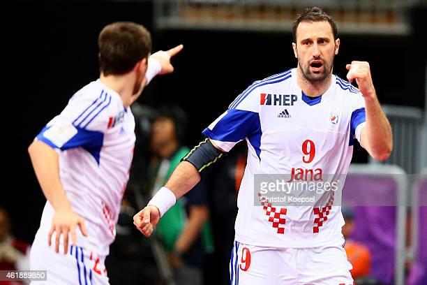Igor Vori of Croatia celebrates a goal during the IHF Men's Handball World Championship group B match between Macedonia and Croatia at Duhail...