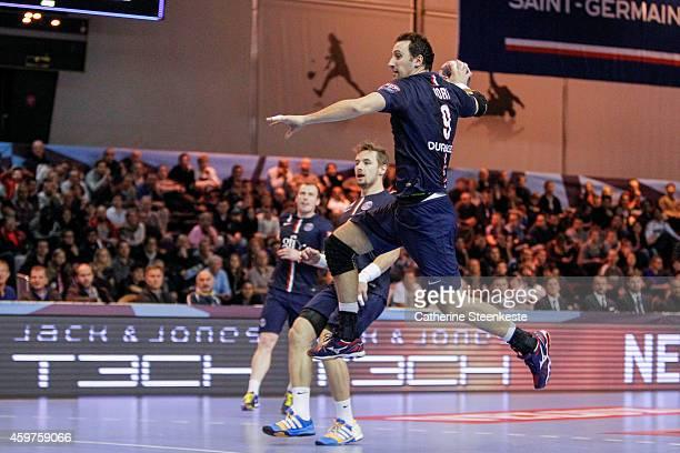 Igor Vori of PSG Handball is shooting the ball during the game between PSG Handball and HC Metalurg at La Halle Carpentier on November 30 2014 in...