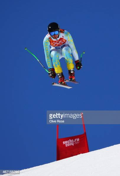 Igor Zakurdaev of Kazakhstan skis during training for the Alpine Skiing Men's Downhill ahead of the Sochi 2014 Winter Olympics at Rosa Khutor Alpine...