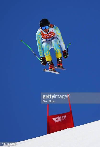 Igor Zakurdaev of Kazakhstan skis during training for the Alpine Skiing Men's Downhill ahead of the Sochi 2014 Winter Olympics at Rosa Khutor Alpine...