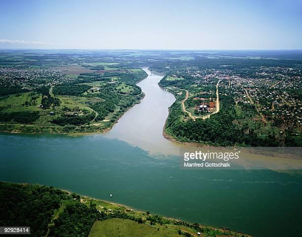 Iguacu and Parana Rivers confluence , Argentina , Brazil , Paraguay