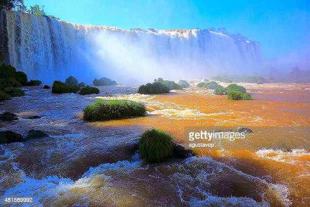 Iguacu falls flowing stream river, Brazil and Argentina border