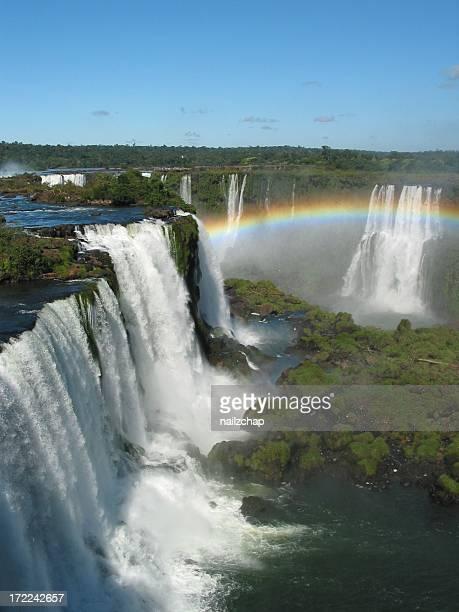 Iguacu Falls Waterfall with Rainbow