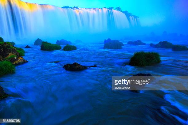 Iguacu impressive falls and green rainforest, Brazil Argentina, South America