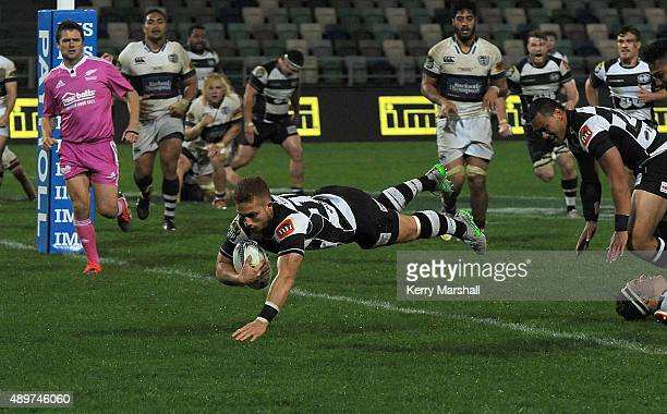 Ihaia West of Hawkes Bay dives in to score the match winning try during the ITM Cup match between Hawke's Bay and Auckland at McLean Park on...