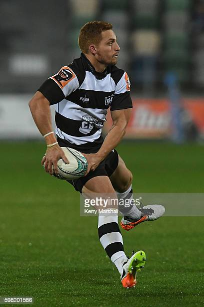 Ihaia West of Hawke's Bay looks to pass during the round three Mitre 10 Cup match between Hawke's bay and Counties Manaukau at McLean Park on...