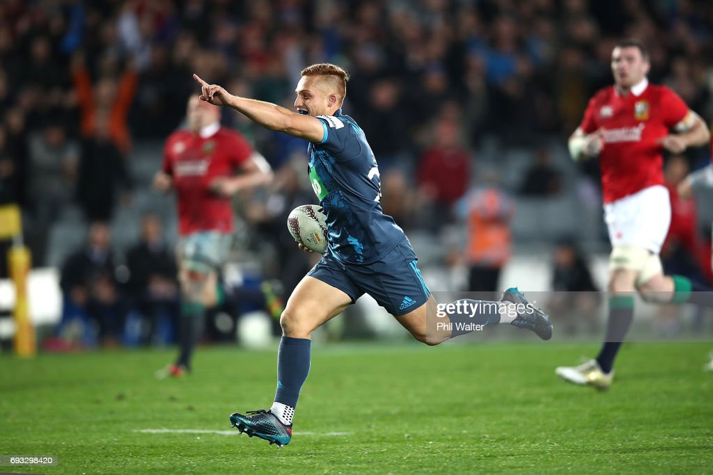 Ihaia West of the Blues celebrates as he runs in to score a try during the match between the Auckland Blues and the British & Irish Lions at Eden Park on June 7, 2017 in Auckland, New Zealand.