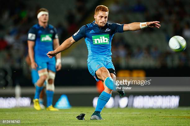 Ihaia West of the Blues kicks a conversion during the round one Super Rugby match between the Blues and the Highlanders at Eden Park on February 26...