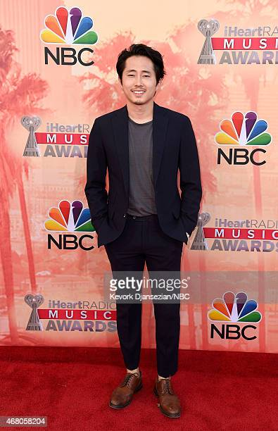 iHEARTRADIO MUSIC AWARDS Pictured Actor Steven Yeun arrives at the iHeartRadio Music Awards held at the Shrine Auditorium on March 29 2015 in Los...
