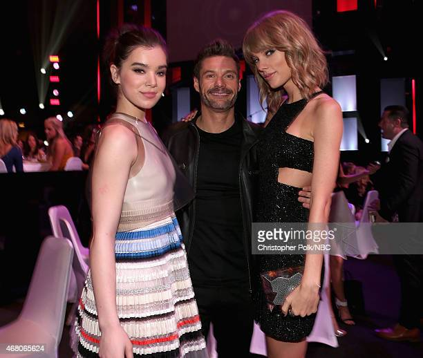 iHEARTRADIO MUSIC AWARDS Pictured Actress Hailee Steinfeld TV/radio personality Ryan Seacrest and recording artist Taylor Swift at the iHeartRadio...