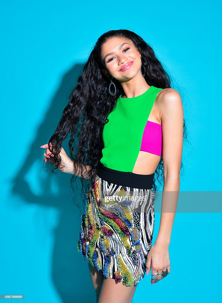 Actress/recording artist Zendaya poses in the NBC photo booth during the 2015 iHeartRadio Music Awards held at the Shrine Auditorium on March 29, 2015 in Los Angeles, California.--