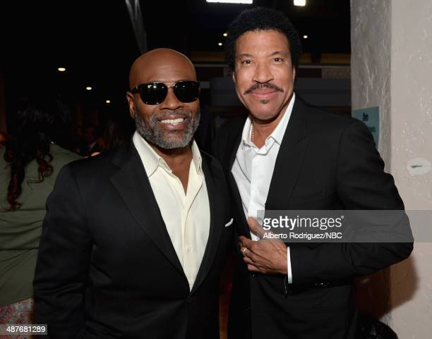 iHEARTRADIO MUSIC AWARDS Pictured Chairman and CEO of Epic Records USA LA Reid and recording artist Lionel Richie pose backstage at the iHeartRadio...