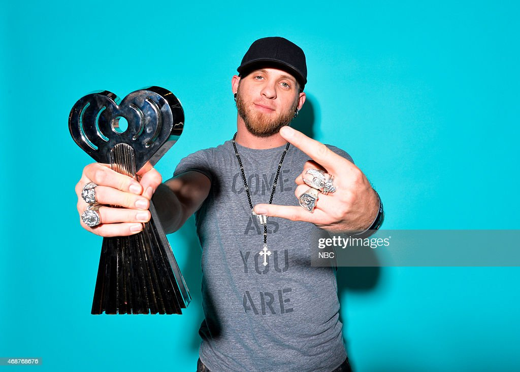 Recording artist Brantley Gilbert poses in the NBC photo booth during the 2015 iHeartRadio Music Awards held at the Shrine Auditorium on March 29, 2015 in Los Angeles, California.--