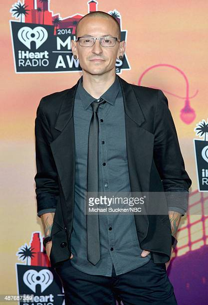 iHEARTRADIO MUSIC AWARDS Pictured Recording artist Chester Bennington poses in the press room at the iHeartRadio Music Awards held at the Shrine...