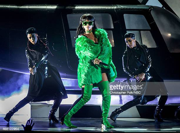 iHEARTRADIO MUSIC AWARDS Pictured Recording artist Rihanna performs onstage at the iHeartRadio Music Awards held at the Shrine Auditorium on March 29...