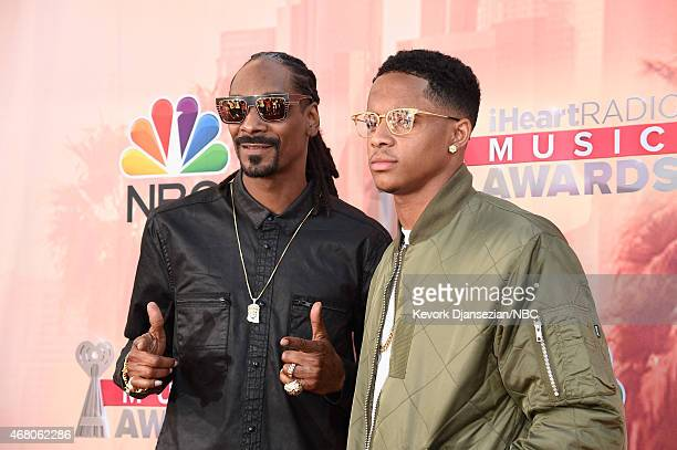 iHEARTRADIO MUSIC AWARDS Pictured Recording artist Snoop Dogg and Cordell Broadus arrive at the iHeartRadio Music Awards held at the Shrine...