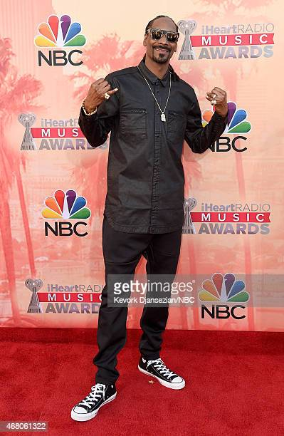 iHEARTRADIO MUSIC AWARDS Pictured Recording artist Snoop Dogg arrives at the iHeartRadio Music Awards held at the Shrine Auditorium on March 29 2015...