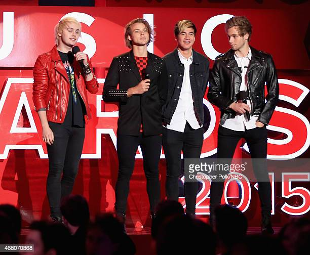iHEARTRADIO MUSIC AWARDS Pictured Recording artists Michael Clifford Ashton Irwin Calum Hood and Luke Hemmings of music group 5 Seconds of Summer...