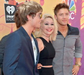 iHEARTRADIO MUSIC AWARDS Pictured Singer Keaton Stromberg recording artist Bea Miller and singer Drew Chadwick arrive at the iHeartRadio Music Awards...