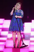 iHEARTRADIO MUSIC AWARDS Pictured Singer Kelly Clarkson performs onstage during the iHeartRadio Music Awards held at the Shrine Auditorium on March...