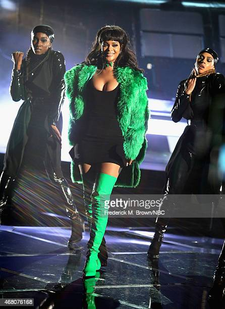 iHEARTRADIO MUSIC AWARDS Pictured Singer Rihanna performs onstage during the iHeartRadio Music Awards held at the Shrine Auditorium on March 29 2015...