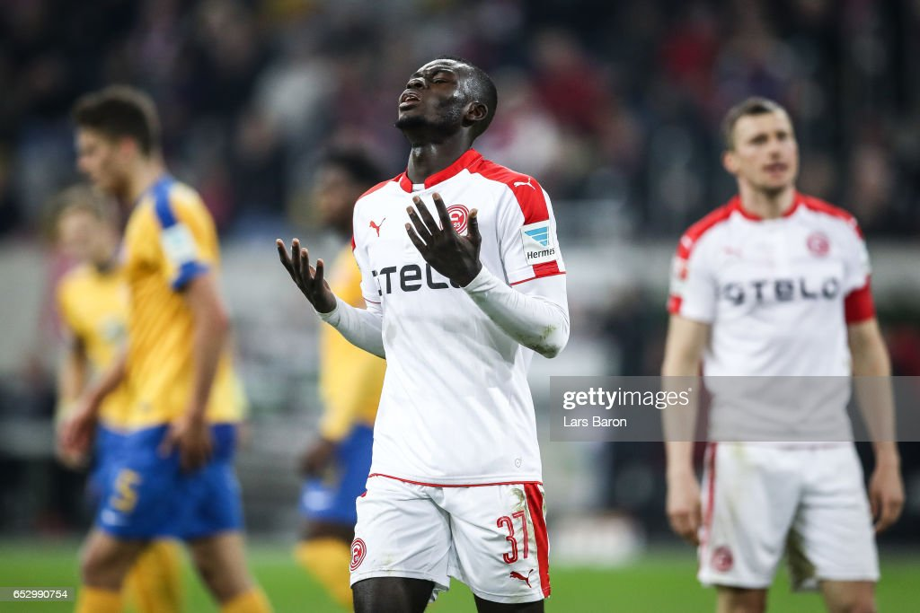 Ihlas Bebou of Duesseldorf reacts after loosing a game with 1-2 during the Second Bundesliga match between Fortuna Duesseldorf and Eintracht Braunschweig at Esprit-Arena on March 13, 2017 in Duesseldorf, Germany.